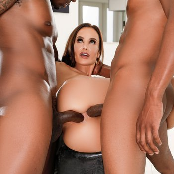 Lisa Ann gets a punishing DP fuck from two BBCs