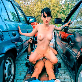 Horny brunette chick loves getting fucked in public