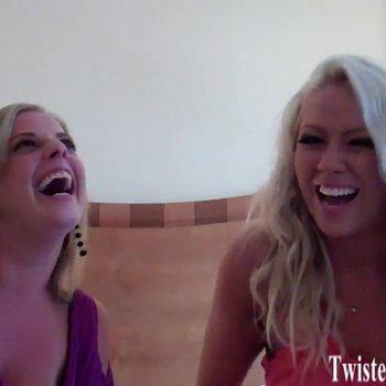 Two blonde girls teasing your small cock