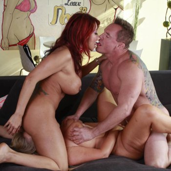Ava Devine and Karen Fisher sharing a big cock