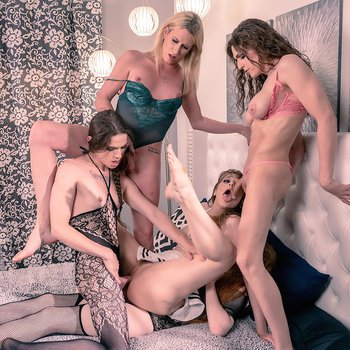 Young chick gangbanged by a group of shemales