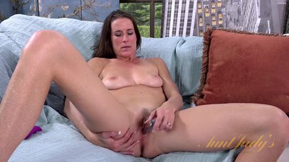Slim MILF Sofie Marie fucks herself with a big dildo