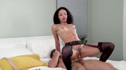 Small boobed Alexis Tae fucked hard on her bed