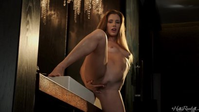 Stunning Mary Rock standing up by the sink and pleasuring her pussy