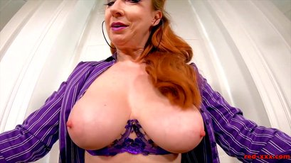 Busty therapist Red XXX fingering her mature pussy