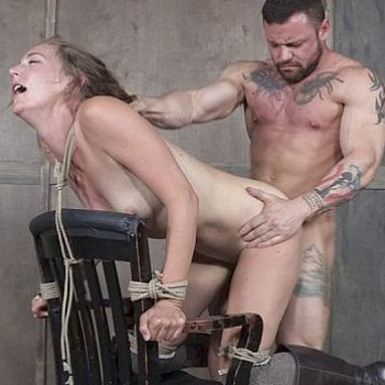 Mona Wales blonde submissive boots babe bound to a chair and dp