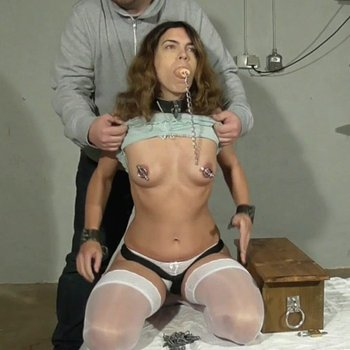 Curly chick gets gagged with a toiled flush handle
