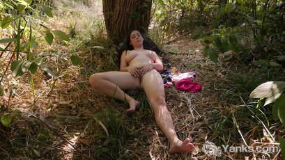 Michelle Rivers pleasures herself in the forest