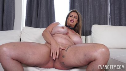 Eva Notty needs a lot of oil to cover those boobs