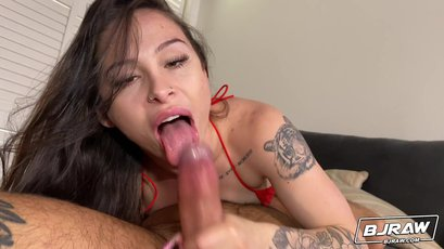 Sexy Mia Moore is on her knees sucking a big cock