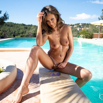 Sultry and wild vixen Tina Kay fucks a guy by the pool