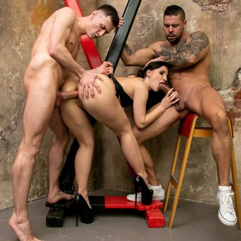 Kristy Black has threesome in sex dungeon
