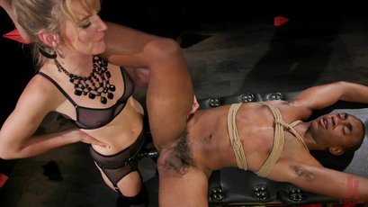 Hot Mona Wales fucks a black guy with a strapon