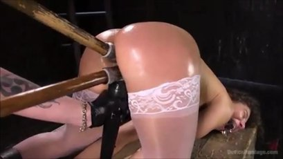 Abella enjoys double penetration while tied up