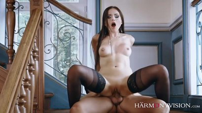 Hot brunette Sasha Rose gets nailed on the stairs