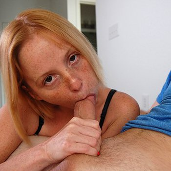 Alyssa Hart works a cock deep in her mouth