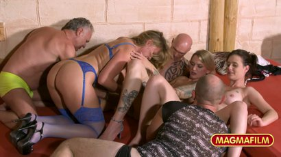 A bunch of ageing swingers enjoy a sexy gangbang