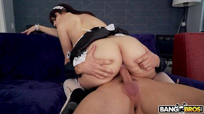 Sexy maid Melody Foxx takes a ride on a hard rod