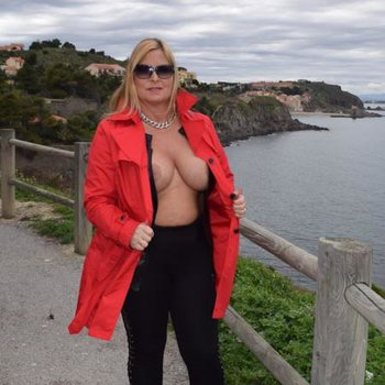 Nude Chrissy goes for a topless walk in France