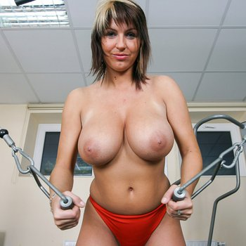 Kora Kryk works out with her massive boobs out