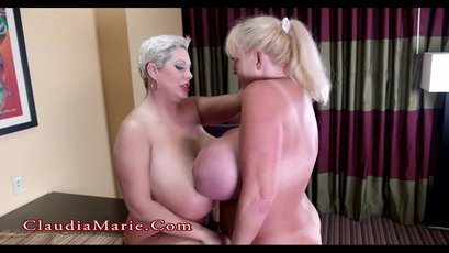 Wild busty blond Claudia Marie enjoys strapon sex with hot Kayla Kleevage