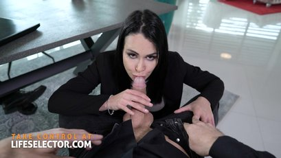 Boss shows a friend what the real secretary is