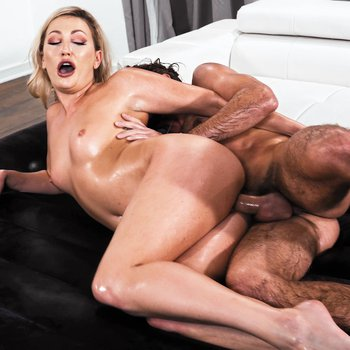 Oiled up slut Adira Allure spreads wide for deep dicking