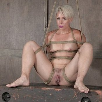 Helena Locke blonde is bound in rope and exposed