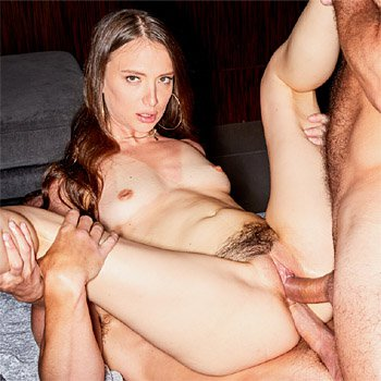 Izzy Lush gets double stuffed by two hung studs