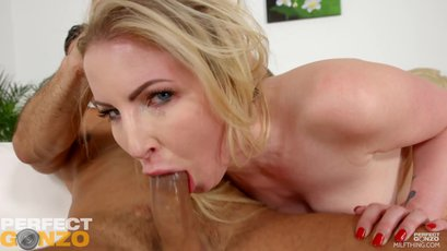 Hot Georgie Lyall gags and rides on a big shaft