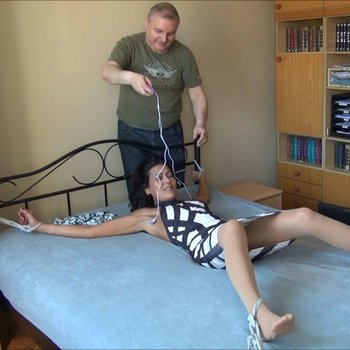 Horny housewife enjoys being bound and tickled