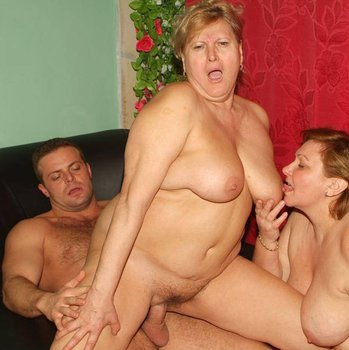 Two mature fat chicks seducing and fucking a guy