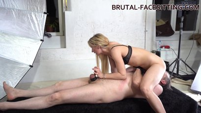 Sophie Summer dominates her small dicked slave