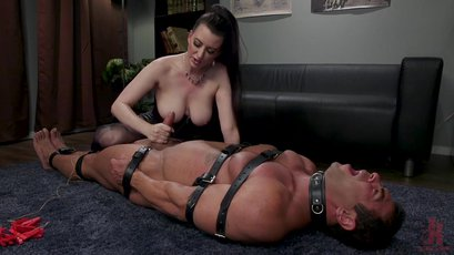 Cherry Torn rubs her hairy pussy over a slave's face