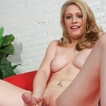 Sexy Allie James stripping and playing with a hard dick