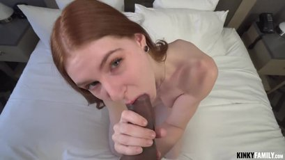 Teen redhead Jane Rogers enjoys sucking and riding a big cock in pov
