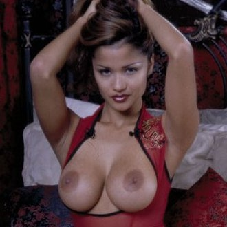 Huge breasted Alley Baggett getting ready sexy red lingerie