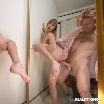 Angel Youngs shoves dick up her gaping cunt