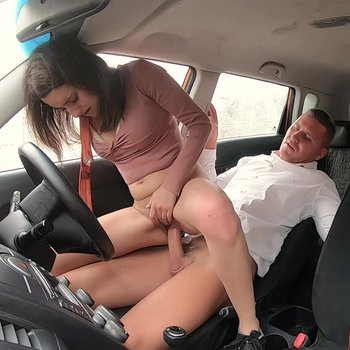 Horny Susy Blue riding a big cock in the car