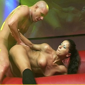 Hot brunette girl fucking on the stage