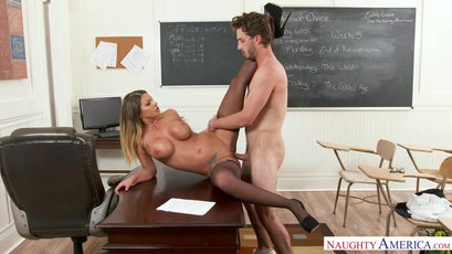 Beautiful teacher Brooklyn Chase has very big surprise for her best student