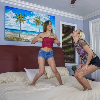Toung girls Dani Blue and Sophia Sweet in 3some