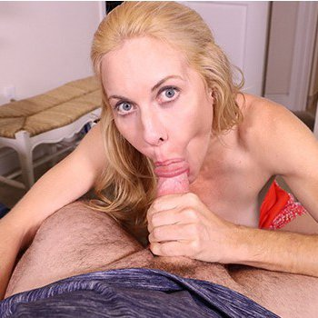 Sexy blonde MILF loves sucking a delicious dick in POV