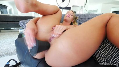 Candice Dare toys her ass before using a vibrator