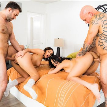 Mona Azar and Violet wants two cocks at once