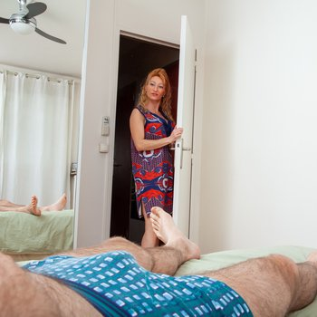Horny MILF surprises a naughty guy with a nice blowjob