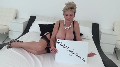 Busty mature Lady Sonia teases in stockings on cam