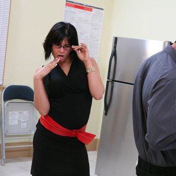 Busty lady Tory Lane in black dress takes a huge cock in her ass