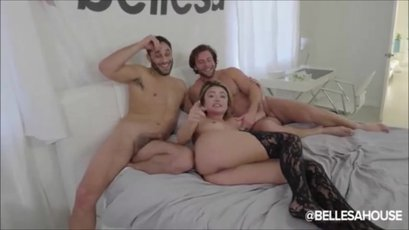 Two guys destroy the cunt of a Adria Rae