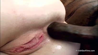 Pale white blonde takes black cock in asshole